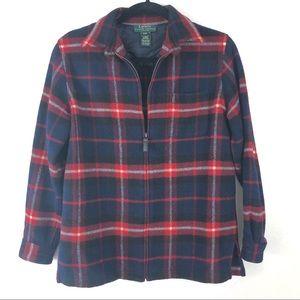 RALPH LAUREN plaid zip up wool blend jacket W16